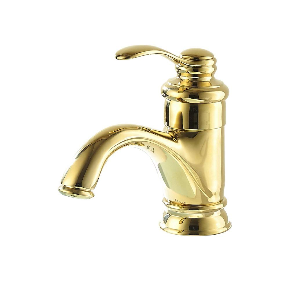 QZH Bathroom Basin Faucet Single Hole Single Handle Sink Faucet Teapot Mixed Water Hot And Cold Water Saving Mix Tap Copper gold