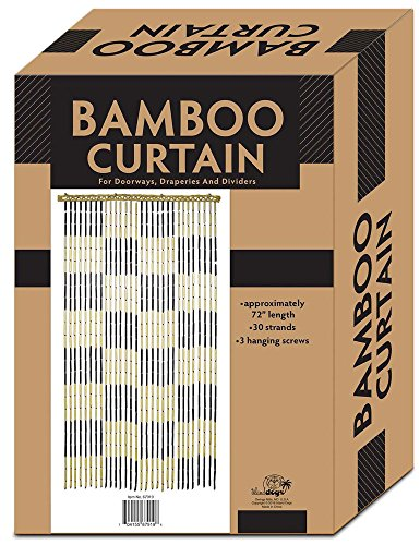 Checkerboard Bamboo Beaded Door Curtain - 3ft x 6ft Hanging Bamboo Curtains
