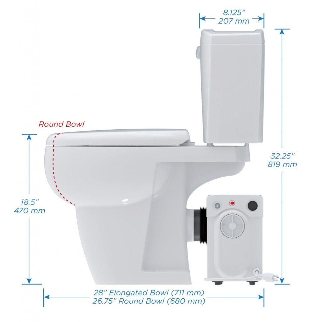 Bathroom Anywhere Macerating Elongated Toilet Bowl, Bisque
