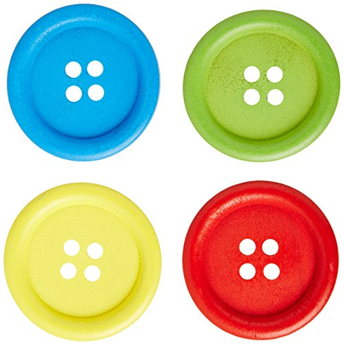Buttons Bright (Bright Wooden Colored Buttons-30mm 25/Pkg Assorted Colors)