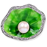 LOVFASHION Charm Crystal Lotus Green Enamel Freshwater Cultured Water Pearl Brooch Pin Stainless Steel for Wedding Bridal