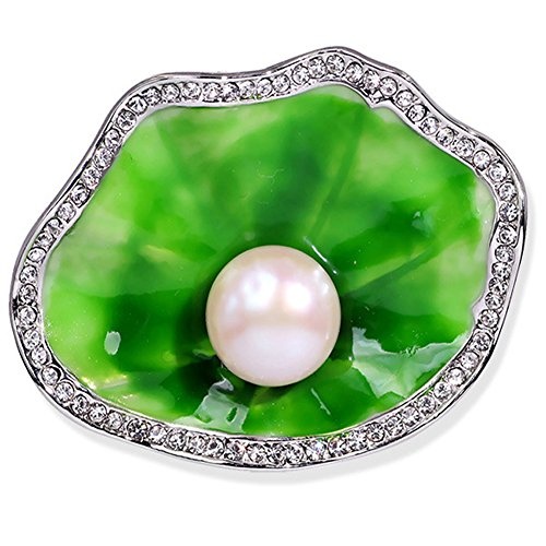 LOVFASHION Charm Crystal Lotus Green Enamel Freshwater Cultured Water Pearl Brooch Pin Stainless Steel for Wedding - Enamel Green Brooch Flower