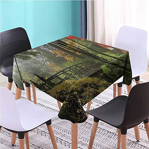Zara Henry Design Landscape Stitching Tassel Tablecloth,Wet Wooden Bridge Oregon Antifouling Tablecloths, W36 x L36 Inch