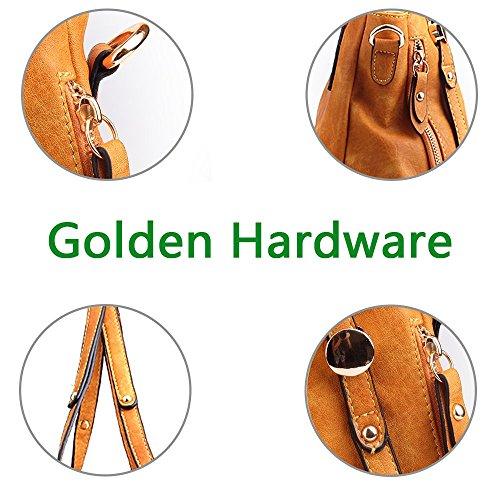 Wheat PU Satchel Bags Handbags Leather Bags Cross Shoulder Tote Zipper WISHESGEM Women Body w0x74EqxR