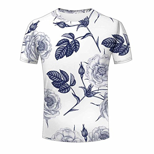 3d Print T Shirt Love Rose Flower Men Women Couple Fashion Graphics ZeShan Tees L