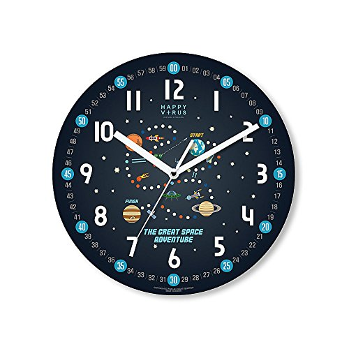 HappyVirus 11.22'' Educational Wall Clock, Children's Time Telling Teacher, Silent Non Ticking Home Decoration (Space Adventure) #2101 by HappyVirus