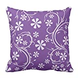 Floral Design Purple Two Tone Flower Pattern Cushion Cover Decorative Pillow Cases Decorative Throw Pillow Cover, 20X20 Inch