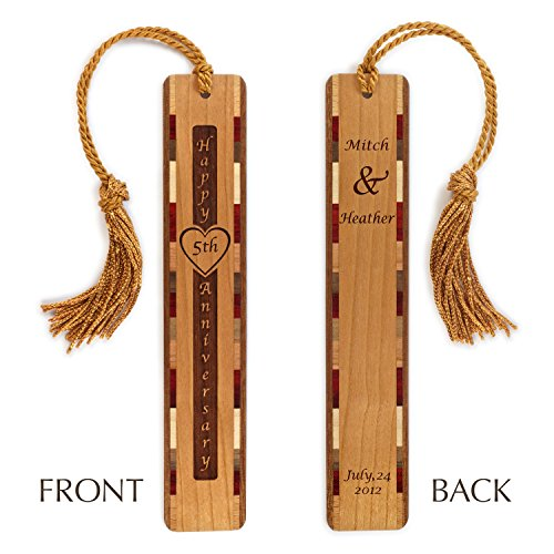 Personalized 5th Anniversary Wood Bookmark with Engraved Names & Wedding Date