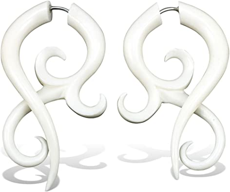 Amazon Com Fake Gauge Earrings Hand Carved Bone Asalah Twists Large Jewelry
