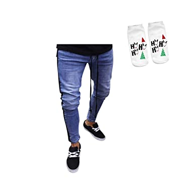 d1687bf239f iMakcc Men Skinny Slim Fit Ripped Denim Pant Destroyed Distressed Zipper  Stretch Jeans (S