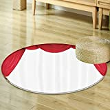 Curtain Classical Theater Operahouse Movie Lover Stage Vintage Decor Digital Print Polyester Fabric Crimson White Circle carpet Red White-Diameter 60cm(24'')