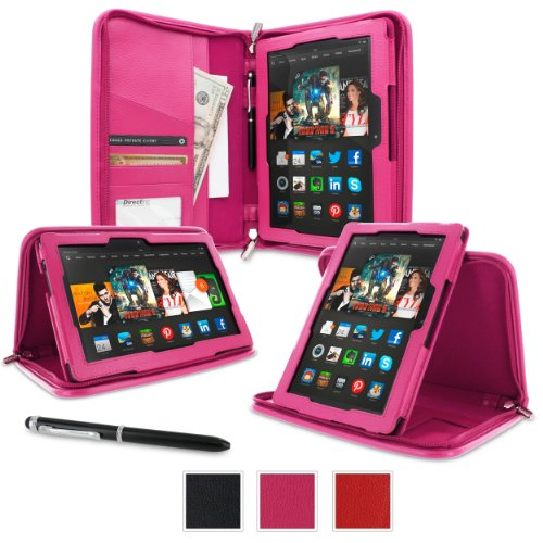 rooCASE Kindle Fire HDX 8.9 Tablet (2014) Case, new Kindle Fire HDX 8.9 Executive Portfolio Leather Case Cover with Stylus for All-New Fire HDX 8.9 Tablet (2014), Magenta