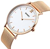 Men's Casual Classic Quartz Analog Waterproof Wrist Watches Stainless Steel Ultrathin Case Dress Watch (Rose Gold)