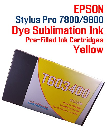 Dye Sublimation ink pre-filled Yellow ink cartridge 220ml - Epson Stylus Pro 7800 9800 printer