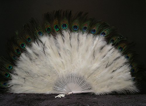 (Marabou Feather Fan w/ Peacock - IVORY 24