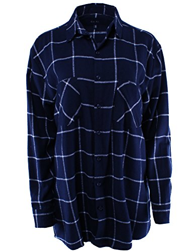 - Boyfriend Shirt Flannel Plaid Button Down Navy White ONE Size