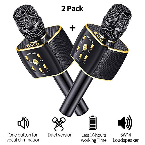 Dual Sing Duet Version Wireless Karaoke Microphone 12w Hi-Fi Bluetooth Speaker Player for iPhone Android Smartphone, 2019 Upgraded Bluetooth Karaoke Machine