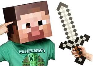 """Minecraft 12"""" Steve Head & Sword Costume Kit"""