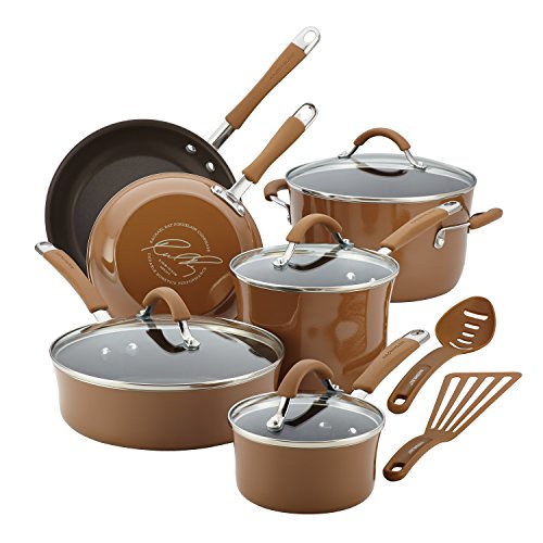 Rachael Ray Cucina Hard Porcelain Enamel Nonstick Cookware Set, 12-Piece, Mushroom - Porcelain Mushroom