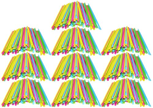 Set of 1000 Sno-Cone Straw Spoons! Bright Colors - 8