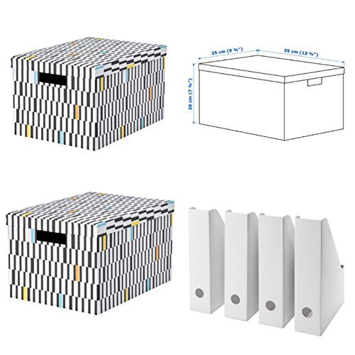 IKEA Tjena Storage Box with Lid (Black & White) 2 pc + IKEA Fluns Magazine File Holder 4 pk