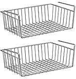 """2 Pcs Silver Kitchen Under Shelf Storage Basket Large - 16"""" Lightweight Metal Organizer Rack"""