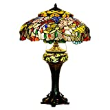 Bieye L10499 19-inches Lotus and Dragonfly Tiffany Style Stained Glass Table Lamp with Double Lit, 28-inch Tall
