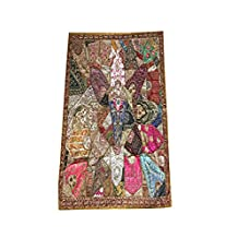 Mogul Wall Hanging Embroidered Patchwork Kutch Wall Hanging Festival Home Décor 90x80