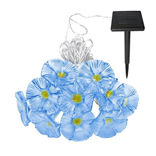 Solar Outdoor Flower String Lights,Blue Morning Glory Blooms,Waterproof, White Led lights,33ft 10LED (Morning Glory Spring)