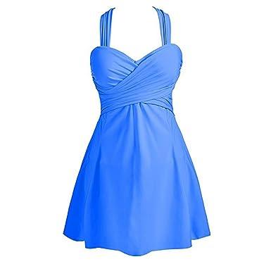 kingko Figurformender V Ausschnitt Badeanzug mit Röckchen Bauchweg  Einteiliger Badekleid Plus Size Damen Bauchweg Badebekleidung mit Röckchen  Badekleid  ... 6d192a5579