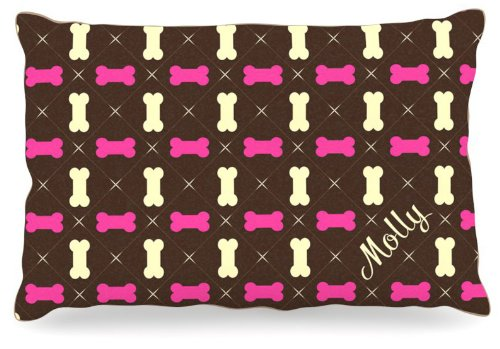 Large 30\ Kess InHouse KESS Original Molly  Girl Bones Name Fleece Dog Bed, 30 by 40-Inch, Pink Brown Tan