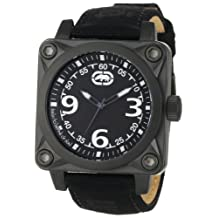 Marc Ecko Men's UNLTD E12598G1 Black Leather Quartz Watch with Black Dial