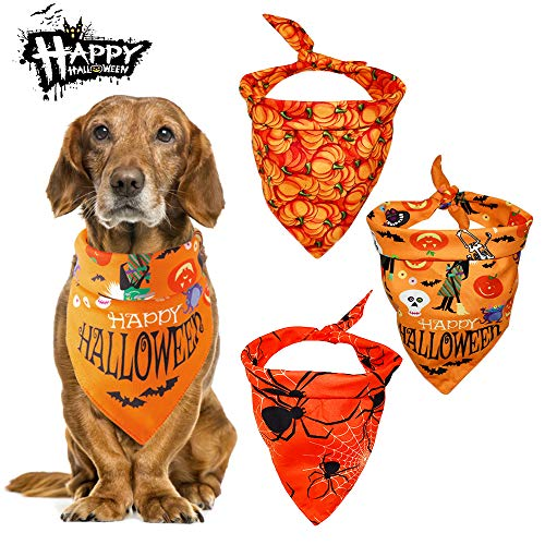 Malier 3 Pack Dogs Bandanas Halloween Bandanas Bibs Scarves Kerchiefs with Pumpkin Pattern Pets Costume Accessories for Cats Dogs Puppy Pets (Set 3)