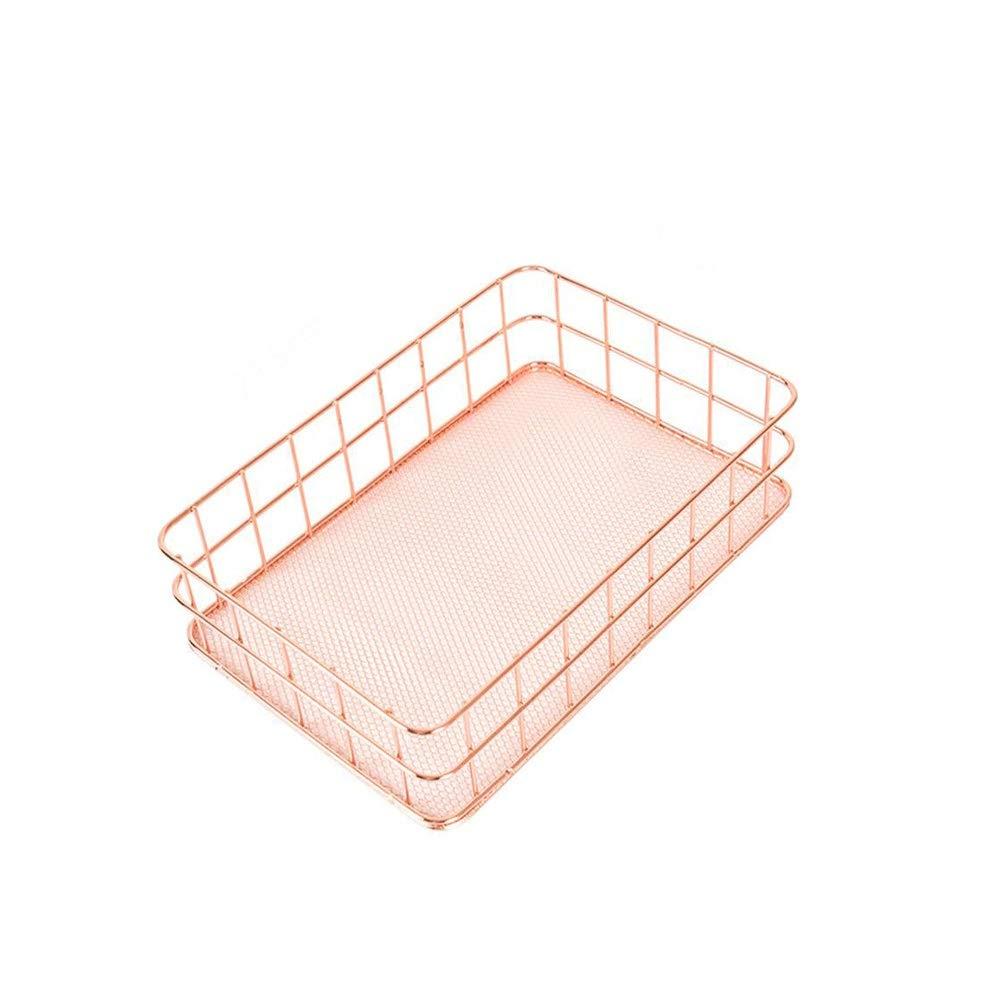 Wapipey Panier de Rangement Fil de cuivre Salle de Bains Etagères de Cuisine Organisateur de Maquillage Support en Or Rose avec Treillis métallique Collection d'articles de Toilette (Taille : L)