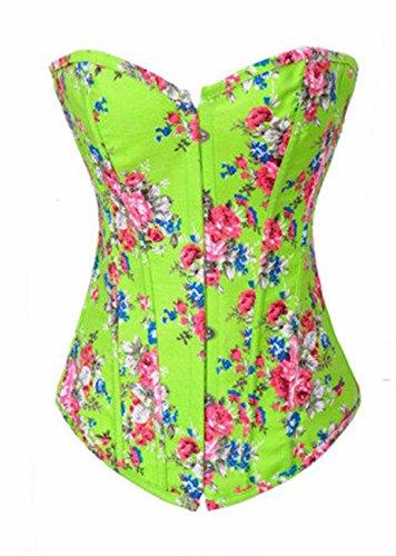 Yall Corset Cintura Formación cintura fina ropa interior de algodón de colores de impresión Green