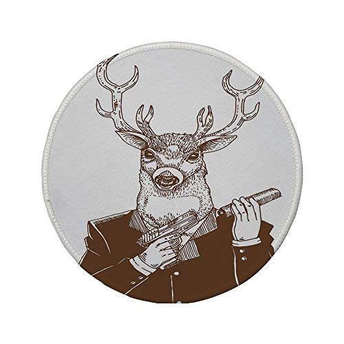 Non-Slip Rubber Round Mouse Pad,Modern,Reindeer Man in Suit with A Gun Mafia Humor Wild Life Artistic Illustration,Redwood White Umber,11.8