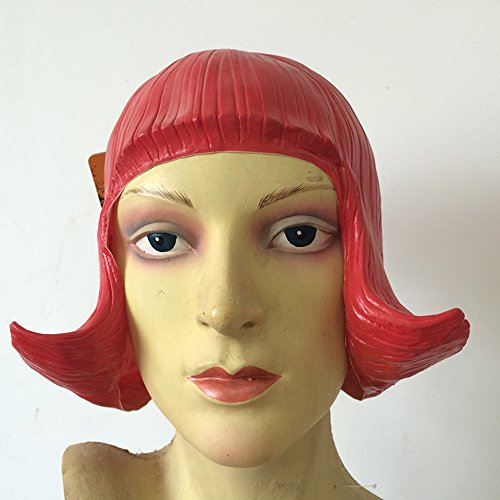 Halloween Dance Party Costumes (Red CD Latex Wig For Cosplay,Mask Festival,Halloween,Dance Party Costume by MaskShow)