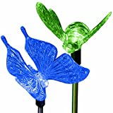 SolarDuke Solar Garden Outdoor Stake Lights Butterfly and Bumble Bee Garden Lighting Path Decoration Color Changing Patio Lawn Backyard Decor