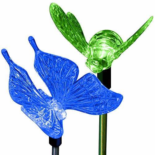 Solar Butterfly and Bumble Bee Holiday Garden Lighting Pa...
