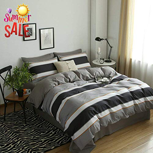 Modern Striped Cotton Bedding Set Queen Luxury Soft Hotel Duvet Cover Set Full 3 Piece Reversible Men Boys Bedding Collection Zipper Closure Cotton Duvet Comforter Cover Set Queen (White Duvet And Cover Brown Striped)