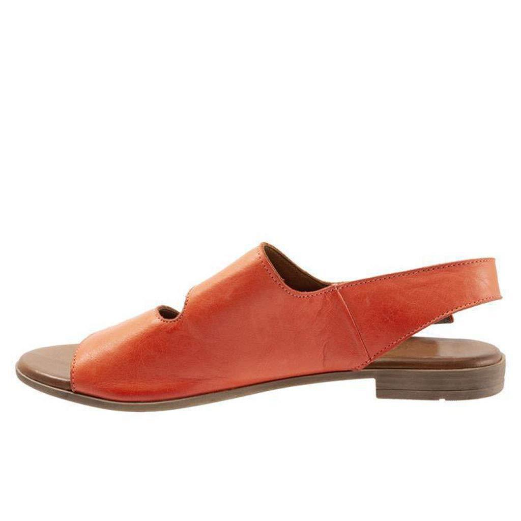 Thenxin Summer Women's Flat Sandal Retro Buckle-Strap Casual Peeptoe Flip Flop Roman Shoes (Orange,5 US) by Thenxin (Image #2)