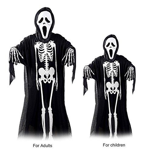 Wall of Dragon Adults Skull Skeleton Ghost Clothes + Skull Devil Mask Gloves Cosplay Costume Men Women Kids Halloween Carnival Masquerade