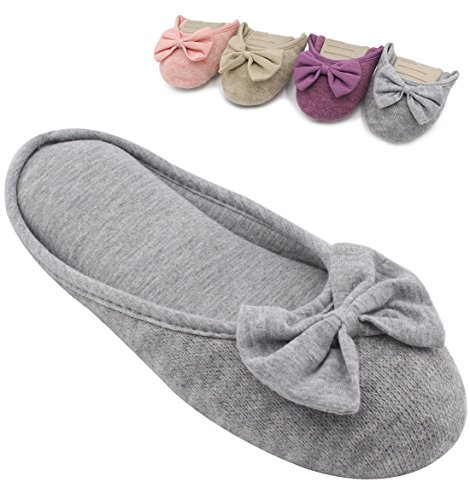 HomeTop+Women%27s+Cozy+Cashmere+Cotton+Closed+Toe+House+Slippers+with+Cute+Bow+Accent+%28Medium+%2F+7-8+B%28M%29+US%2C+Gray%29