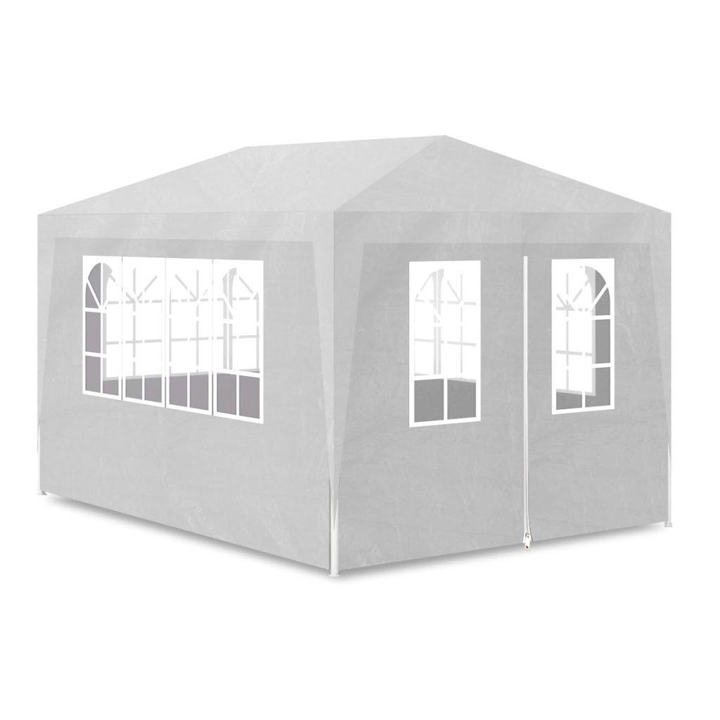 vidaXL Outdoor Party Tent 10'x13' White Wedding Patio Gazebo Canopy w/ 4 Walls