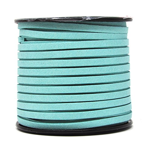 Mandala Crafts 50 Yards 5mm Wide Jewelry Making Flat Micro Fiber Lace Faux Suede Leather Cord (5mm, Turquoise)