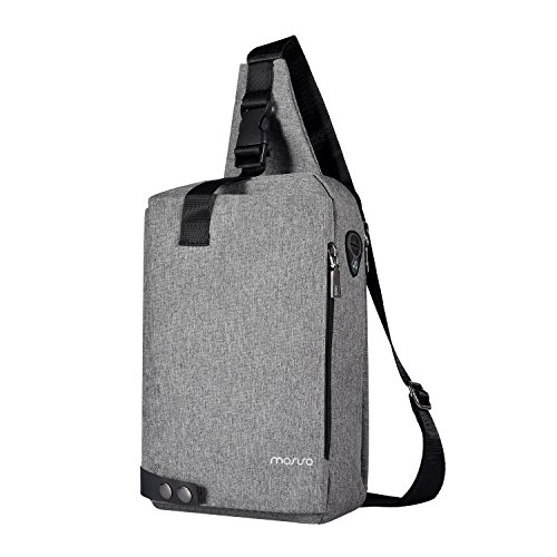 MOSISO Sling Backpack with Metal Button, Polyester Travel Daypack Durable Chest Shoulder Unbalance Gym Fanny Lightweight Crossbody Sack Satchel Outdoor Hiking Bag for Men Women Girls Boys, Gray