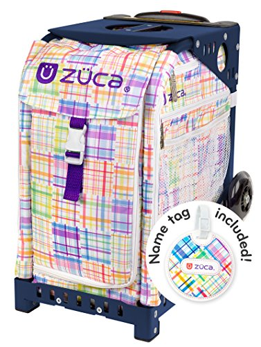 Zuca Patchwork Sport Insert Bag and Navy Blue Frame with Flashing Wheels by ZUCA