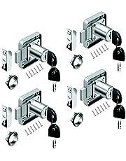 youtu 4 stuks meubelslot cilinder-meubelslot schroefslot slot slot kast set voor laden & kasten | staal vernikkeld | doornmaat: 22 mm