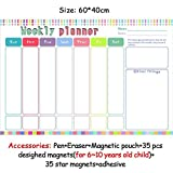 HITSAN magnetic chores chart dry erase board wall sticker kids weekly planner to do list reward chart 60 40 cm 6040ZLB02-2