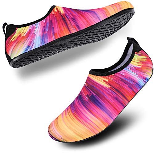 ALEADER Ladies/Womens Outdoor Water Shoes, Aqua Beach Socks for Water Park, Swimming, Ocean, Snorkeling Colorful 7-8.5 M US Women / 6.5-7.5 M US Men